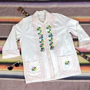 White Cotton Embroidered Vintage Top